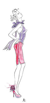 Painting - Fashion Illustration - Model In Purple Top Pink Skirt And High Heels.    by Kate Zucconi