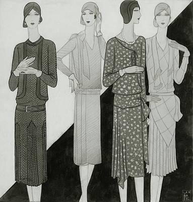 Fashion Illustration Of Four Women Art Print