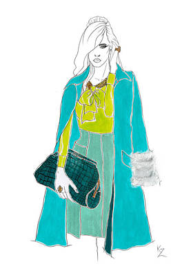 Painting - Fashion Illustration-painting Model Jade Green Coat Silk Blouse Tweed Skirt. by Kate Zucconi