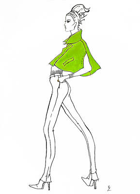 Painting - Fashion Illustration Fashion Model In Lime Green Cape With Skinny Jeans And High Heels. by Kate Zucconi