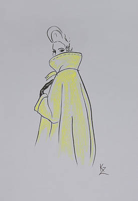 Painting - Fashion Illustration - Retro Style Woman In Yellow Coat  by Kate Zucconi