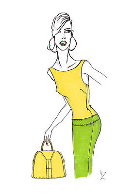 Painting - Fashion Illustration - Stylish Model With Yellow Boatneck Top And Bag And Green Pencil Skirt by Kate Zucconi