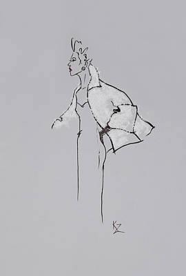 Painting - Fashion Illustration - Vintage Style Sketch Lady In White Fur Swing Jacket by Kate Zucconi