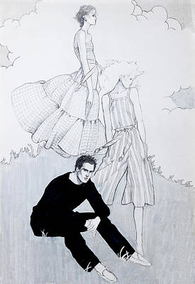 Eighties Drawing - Fashion On A Hill by Sarah Parks