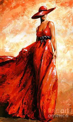 Fashion Red Art Print by Emerico Imre Toth