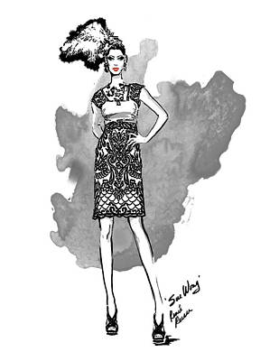 Fashion Illustration Drawing - Fashion Week Frock 1 by Renee Reeser Zelnick