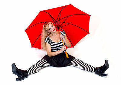 Photograph - Fashion Woman With Red Umbrella by Trudy Wilkerson
