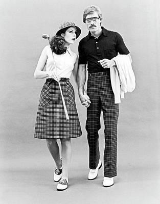 Fashionable Couple Golf Attire Art Print