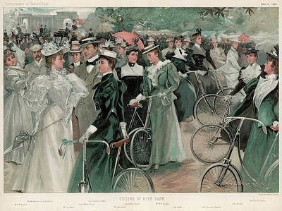 Hyde Park Drawing - Fashionable Cyclists In Hyde  Park by Mary Evans Picture Library