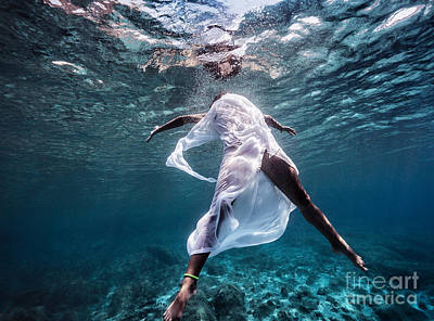 Photograph - Fashionable Model Dancing Underwater by Anna Om