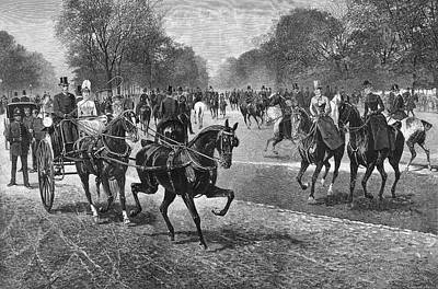 Hyde Park Drawing - Fashionable Riders In Rotten Row, Hyde by  Illustrated London News Ltd/Mar