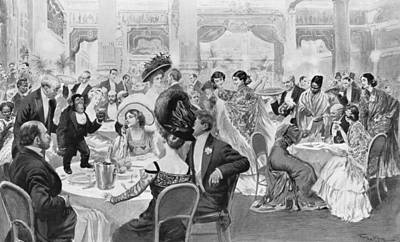 Evening Dress Drawing - Fashionable Suppers by Georges Bertin Scott