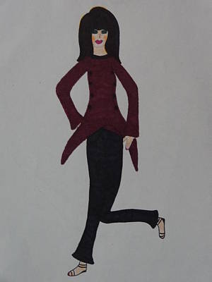 Drawing - Fashionista One Hundred One by Nancy Fillip