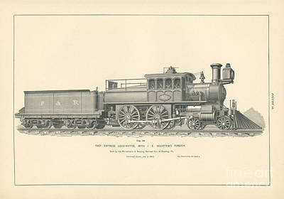 Philadelphia Drawing - Fast Express Locomotive With J.e. Woolen's Firebox Fig. 18 by MMG Archive Prints