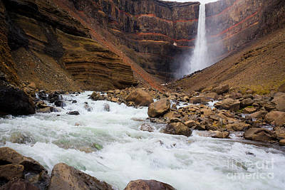 Photograph - Fast-flowing Hengifoss Waterfall by Peta Thames