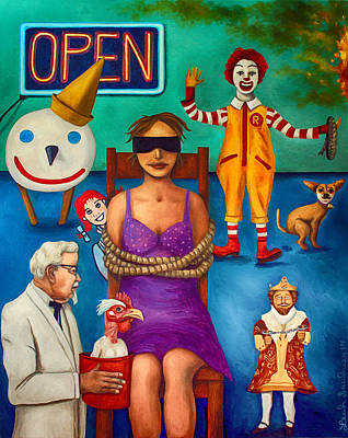 Tied-up Painting - Fast Food Nightmare 3 Edit 2 by Leah Saulnier The Painting Maniac
