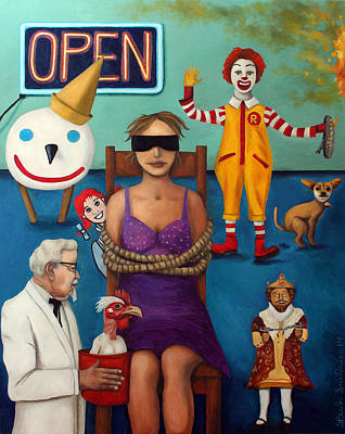 Tied-up Painting - Fast Food Nightmare 3 by Leah Saulnier The Painting Maniac