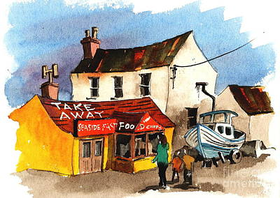 Painting - Fast Foods Bray Wicklow by Val Byrne
