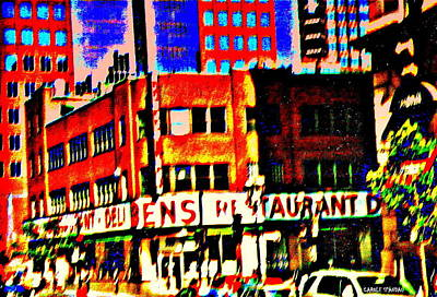Montreal Memories. Painting - Fast Paced Life In The City Scenes Of Downtown  Montreal Restaurants Skyscrapers And Ben's Deli  by Carole Spandau
