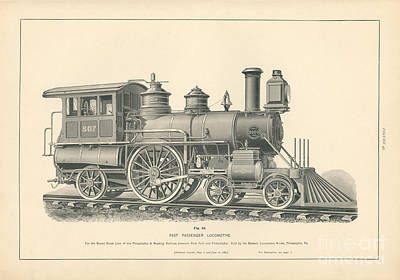 Philadelphia Drawing - Fast Passenger Locomotive Fig. 43 by MMG Archive Prints