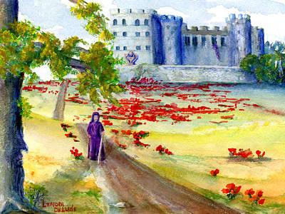 Castle Painting - Fastasy Castle Landscape  by Lenora  De Lude