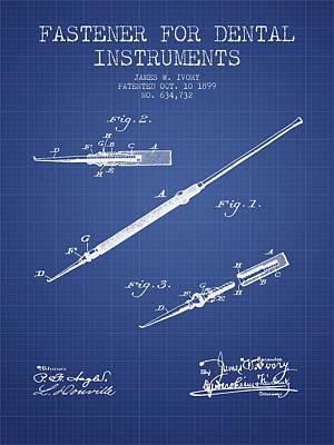 Fastener For Dental Instruments Patent From 1899 -  Blueprint Art Print
