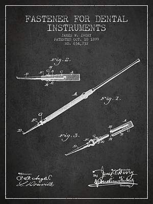 Fastener For Dental Instruments Patent From 1899 - Dark Art Print