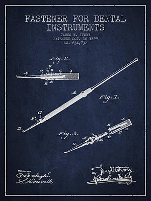 Fastener For Dental Instruments Patent From 1899 - Navy Blue Print by Aged Pixel