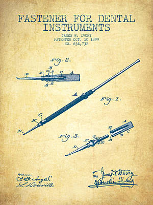 Excavator Digital Art - Fastener For Dental Instruments Patent From 1899 - Vintage Paper by Aged Pixel