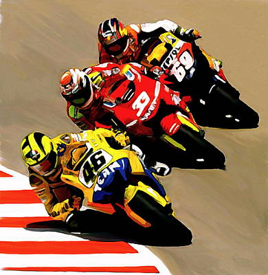Painting - Faster  Valentino Rossi Nicky Hayden by Iconic Images Art Gallery David Pucciarelli