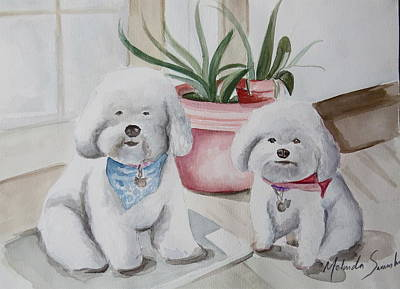 Fat Bichons Original by Melinda Saminski