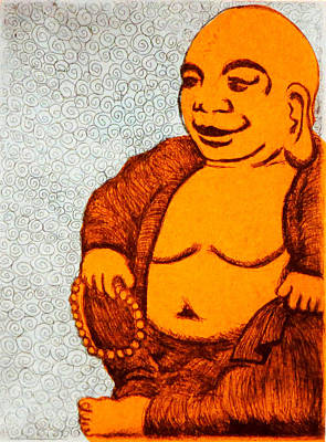 Buddah Painting - Fat Buddha /with Chine-colle by Nathan Winsor