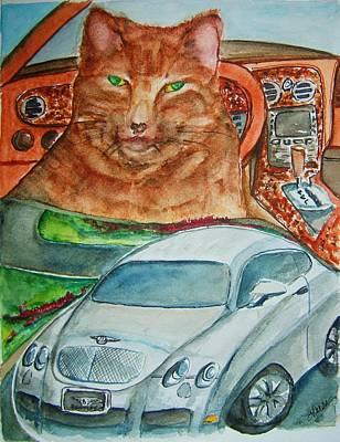 Domestic Short Hair Cat Painting - Fat Cat And The Bentley by Elaine Duras