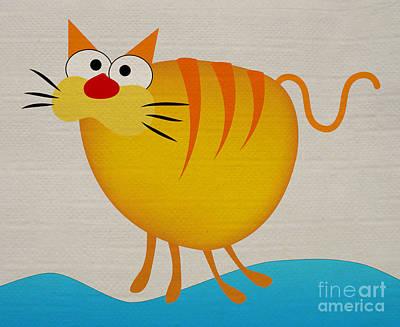 Fat Cat Art Print by T Lang