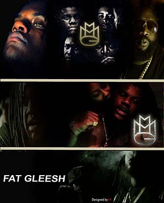 Miami Heat Mixed Media - Fat Gleesh by HI Designs Amor Blu Group LLC