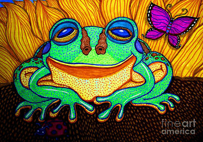 Animals Drawings - Fat Green Frog on a Sunflower by Nick Gustafson