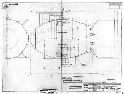 Fat Man Atomic Bomb Blueprint Art Print by Los Alamos National Laboratory