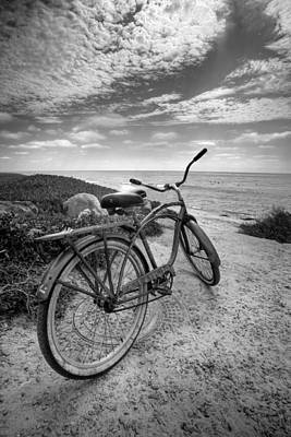 Fat Tire Black And White Art Print