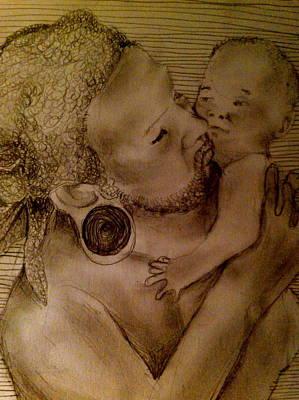 Rasta Drawing - Father And Child by Avi Sinai