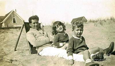 Photograph - Father And Children At Beach by Karen Adams