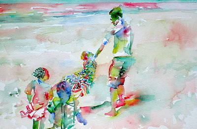 Good Times Painting - Father And Children by Fabrizio Cassetta