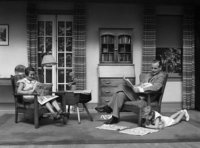 Funnies Photograph - Father And Children Relaxing At Home by H. Armstrong Roberts/ClassicStock