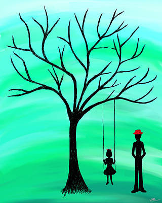 Little Green Men Digital Art - Father And Daughter Green by Savannah Bertozzi