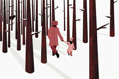 Digital Art - Father And Daughter Holding Hands by Kerry Hyndman