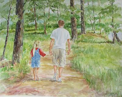Painting - Father And Daughter Walk by Gloria Turner