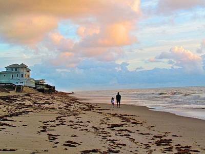 Sebastian Florida Photograph - Father And Daughter's Early Morning Walk On The Beach by Carol Montoya