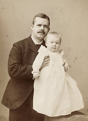 Photograph - Father And Infant, C1890 by Granger