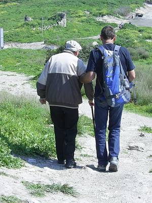 Photograph - Father And Son Down The Path Together by Esther Newman-Cohen