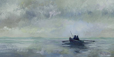 Painting - Father And Son Fishing 2 by Jan Cipolla