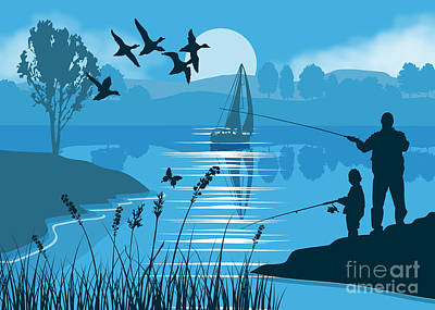 Silhouette Painting - Father And Son Fishing by Tim Gilliland